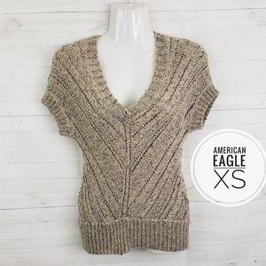 XS American Eagle Tan sweater with rainbow thread
